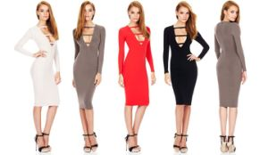 Black Deep Neck Women Club Dress Long Sleeve Evening Dress pictures & photos