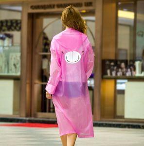 Fashion Design Women′s Full Length Reusable Raincoat pictures & photos