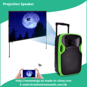 Professional 12 Inches Portable Speaker Box with LED Projector pictures & photos
