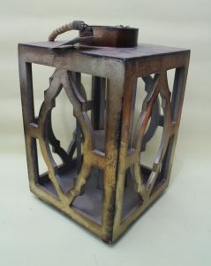 Chinese Classical Antique Metal Color Painting Environmental Metal Hollow Diamond Lantern