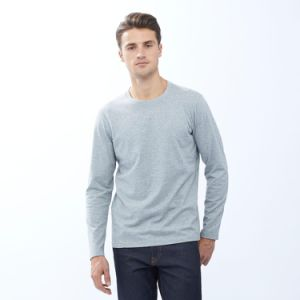 Wholesale Men′s Long Sleeve Plain Cotton T-Shirt pictures & photos