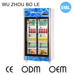 Upright Sliding Beverage Refrigerator with Three Automatic Doors