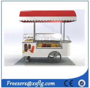 Curved Glass Ice Cream Gelato Carts / Dipping Cabinet Freezers pictures & photos