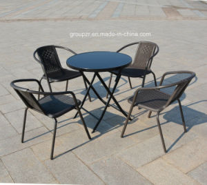 Garden Furniture Round Tempered Glass Table Black Printed Glass Table pictures & photos