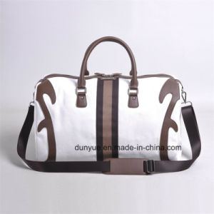 Promotion PU Leather Handle Canvas Travel Bag, Practical Tote Luggage Bag, Sports Bag for Outdoor pictures & photos