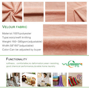 Brushed Knitted 100 Polyester Super Soft Velour Fabric pictures & photos