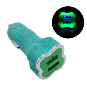 Ice Crack 1A 2.1A 2-Ports USB Car Charger for iPhone Android pictures & photos