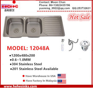 Stainless Steel Topmount Double Bowl Sink with Single Board for Kitchen, Kitchen Basin pictures & photos