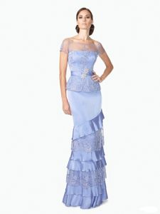 Blue Layered Lace Short Sleeves Princess Latest Wholesale Lady Evening Dress pictures & photos