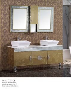 Modern Stainless Steel Golden Bathroom Cabinet with Diamond Basin and Side Cabinet pictures & photos
