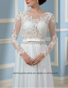 Backless Wedding Gowns Long Sleeves Lace Bridal Wedding Dress Wd001 pictures & photos