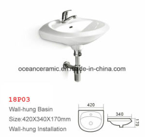 British Style, Samll Basin, Lavatory, Sink, Square Wall Hung Wash Basin pictures & photos