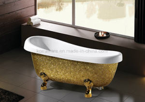 Freestanding Classic Bathtub with Golden Mosaic (K1521) pictures & photos