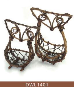 Decorative Owl Shape Rattan Flower Basket pictures & photos