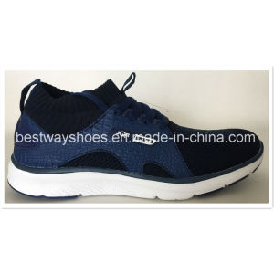 Newest Design Flyknit Shoes with PU Leather Upper Shoes pictures & photos