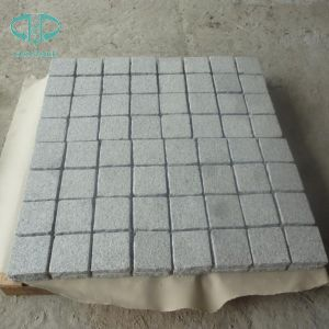 Fan Shaped White Granite G603 Cobble Stone on Mesh for Paving pictures & photos