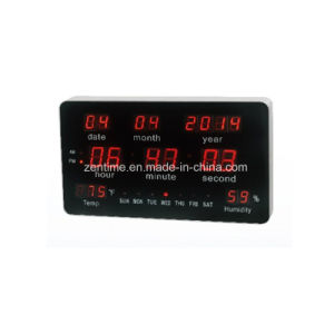 Large LED Digital Illuminated Wall Clock with Calendar Temp& Humidity Display pictures & photos