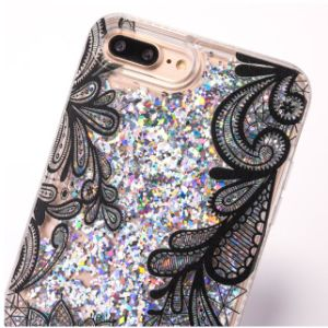 Heart Liquid Quicksand Bling Lace Flower Design Flexible TPU Case pictures & photos