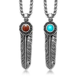 Vintage Gothic Feather Necklace Pendant Fashion Accessories Titanium Steel pictures & photos