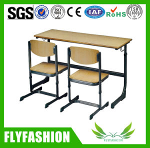 Cheap School Table Double Desk Set with Two Chairs. pictures & photos