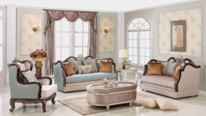Neoclassical Wooden Velvet Fabric Sofa with Table Set for Living Room pictures & photos