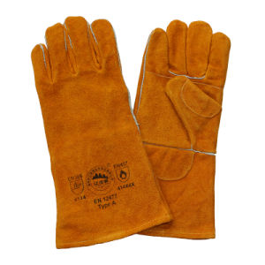 Double Palm Cut Resistant Leather Hand Welding Glove pictures & photos