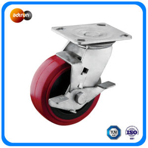 Heavy Duty Tread Brake Polyurethane Wheel Casters pictures & photos