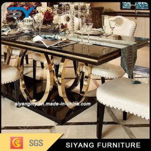 Dining Room Furniture Gold Metal Leg Glass Dining Table pictures & photos