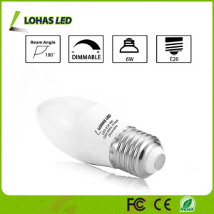 Milky White Shell LED Candle Light Bulb with E26 6W pictures & photos