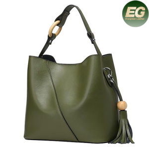 Cowhide Leather Handbags Tassel Fashion Genuine Leather Tote Bag Emg4855 pictures & photos
