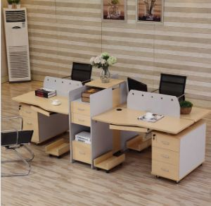 4 Seats Straight Desk Workstation Cluster Staff Office Partition (HX-NCD074) pictures & photos