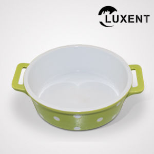 Portable Porcelain Cooking Color Circular Cake Pan with Ears