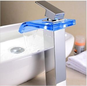 Temperature Sensitive 3 Color Changing Bathroom Glass LED Tap pictures & photos