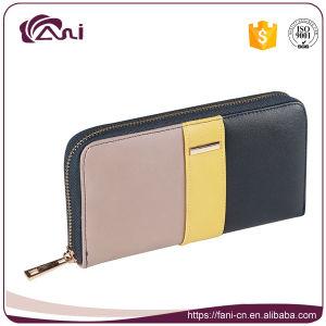Wholesale Women Wallet Contrast Color PU Leather Wallet Lady Coin Purse Summer Design Long Zipper Wallet pictures & photos