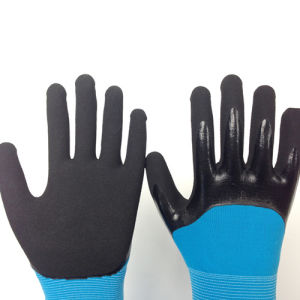 Two Layer Gloves with 3/4 Sandy Nitrile Coating