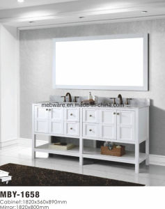 Double Sink Solid Wood Bathroom Vanity with Marble Countertop pictures & photos