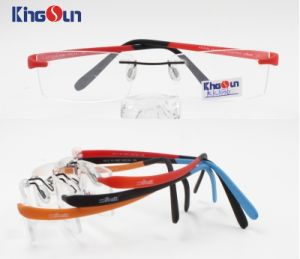 Kid′s Rimless Tr90 Temple with Rubber Finish Optical pictures & photos