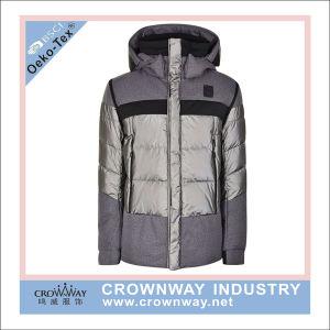 Yarn Dye Melange Grey Hooded Warm Padded Winter Jacket for Women pictures & photos