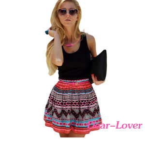 Black Tank Top Tribal Print Skirt Flared Dress pictures & photos