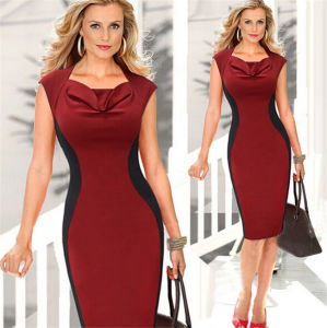 Wholesale Ladies Elegant Sleeveless Pencil Red Summer Dress pictures & photos