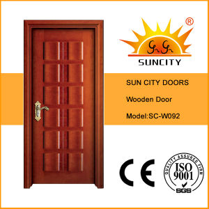 Hot Sale Popular Interior Teak Carved Solid Wooden Doors (SC-W092) pictures & photos
