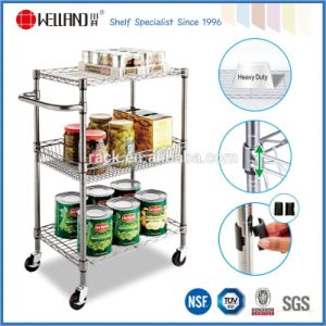 Restaurant DIY Chrome Kitchen Metal Storage Food Trolley Cart, NSF Approval pictures & photos