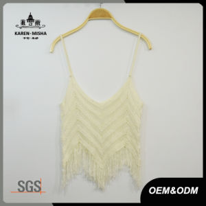 Women Sexy Summer Knitted Slip Tops with Fringe Hem pictures & photos