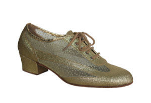 Golden Glitter&Mesh Upper Tango/Latin Dance Practice Shoes pictures & photos