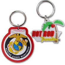 Key Shaped Promotion 2D Rubber Keychain Keyring pictures & photos