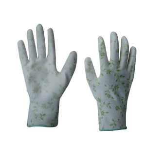 13G Polyester Liner PU Coated Garden Glove (5530-GR) pictures & photos