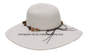 Wide Brim Straw Hats with Beads Boardwalk Style (CPA_90008) pictures & photos