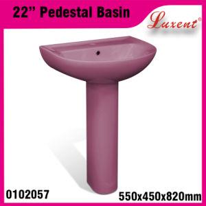High Quality Stoneware Garden Hot Sale Classic Hair Wash Pedestal Sink pictures & photos