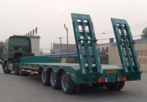 3 Axles Low Flat Bed Semi Trailer Factory/ Manufacturer pictures & photos