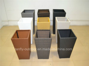 Outdoor Rattan Square Tapered Garden Flower Pot with Inner Steel pictures & photos